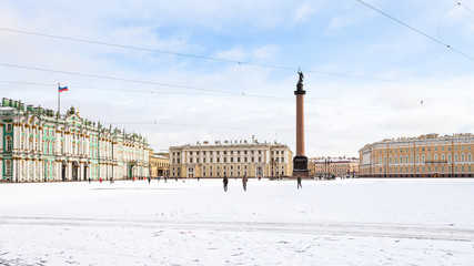 panoramic view of snow-coverd Palace Square