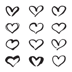 Black hand drawn hearts. Design elements for Valentine's day.