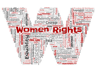 Vector conceptual women rights, equality, free-will letter font W red word cloud isolated background. Collage of feminism, empowerment, integrity, opportunities, awareness, courage, education concept