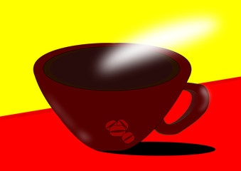 Cup of hot and fuming ceramic coffee decorated with coffee beans on striking background.