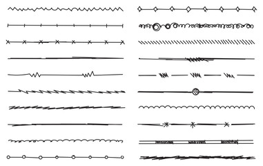 hand drawn lines, sketch lines, exercise lines and strokes vector