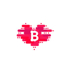 Bitcoin in cloud in the shape of a heart with shadow and blue sky background