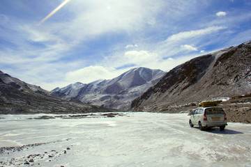 Frozen river enroute Tsomoriri Lake, Ladakh, Jammu and Kashmir
