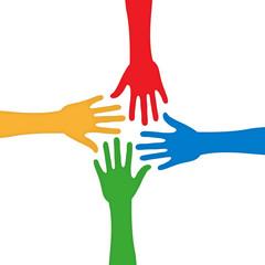 Vier bunte Hände Konzept