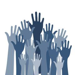 Hände nach oben gestreckt blau