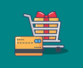 shopping cart with gift box and  credit card over blue background, colorful design. vector illustration