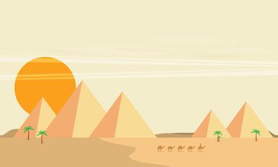Caravan of camels near Egypt pyramids landscape flat vector