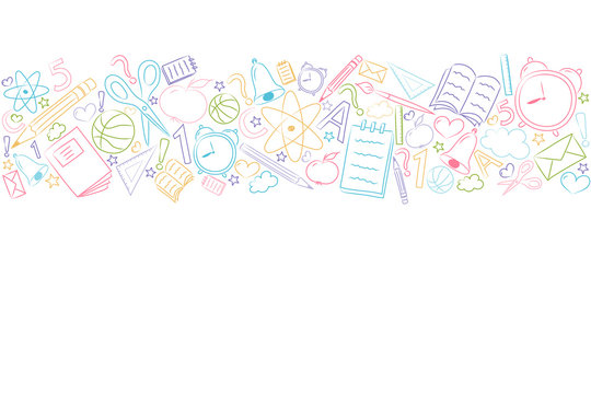 School background with funny accessories and copyspace. Vector.