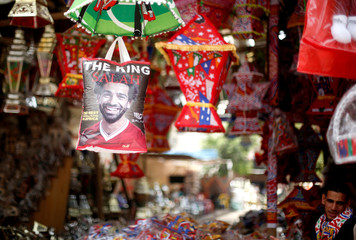 A plastic shopping bag bearing the image of Liverpool's Egyptian forward soccer player Mohamed Salah, is seen at a market in Cairo