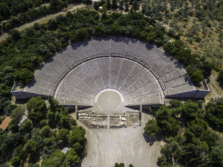Aerial drone bird's eye view photo of ancient theater Epidaurus or Epidavros, Argolida, Peloponnese, Greece