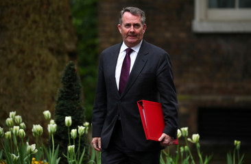 Britain's Secretary of State for International Trade, Liam Fox arrives for a Brexit subcommittee meeting at Downing Street in London