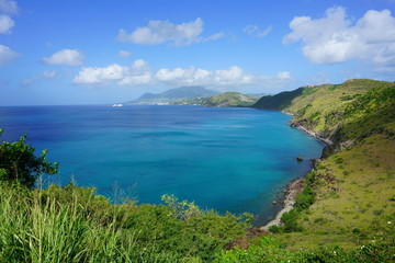 Landscape view of Basseterre Bay in the Caribbean Sea in the Christophe Harbour area in the island of St Kitts, St Kitts and Nevis