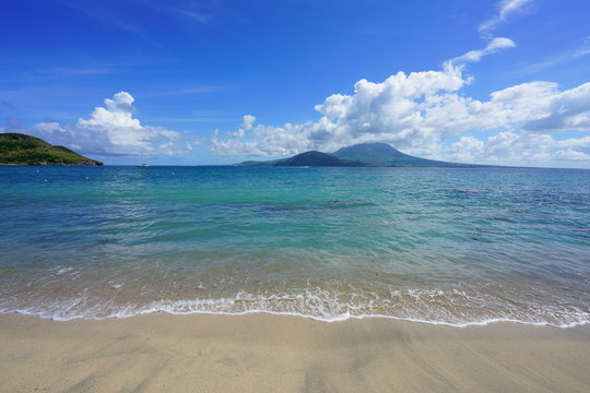 View of the Nevis Peak volcano across the water from St Kitts