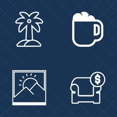 Premium set of outline vector icons. Such as beach, couch, caffeine, drink, interior, espresso, cup, blank, summer, morning, background, breakfast, nature, travel, business, coconut, photo, leaf, wall
