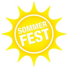 """Sonnen-Button """"Sommerfest"""" gelb"""