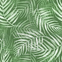 Poster Tropical Leaves Seamless watercolor pattern, background. Palm leaf background, postcard. Green tropical palm leaf. Illustration for design wedding invitations, greeting cards, postcards.