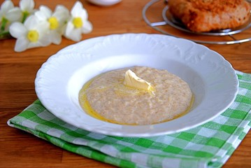 Oatmeal with butter for breakfast