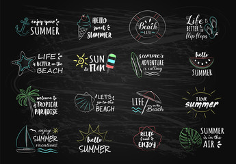Summer typography with icons - chalk drawings. Vector.