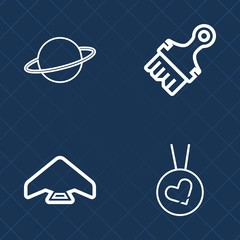 Premium set of outline vector icons. Such as border, air, sun, skydiving, astronomy, system, parachute, extreme, ring, paint, sport, element, space, texture, gold, skydiver, artistic, fly, high, jump