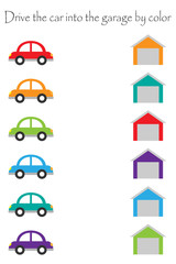 Drive colorful cars in cartoon style into garages by color for children, preschool worksheet activity for kids, task for the development of logical thinking, vector illustration