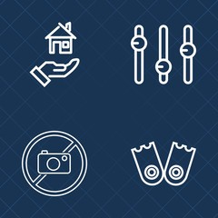 Premium set of outline vector icons. Such as information, property, house, concept, buy, residential, sign, white, activity, real, equipment, warning, rent, no, beach, flipper, forbidden, mortgage