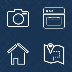 Premium set of outline vector icons. Such as professional, modern, cook, property, camera, map, road, city, food, object, travel, black, housing, heat, real, gps, estate, door, technology, cooking