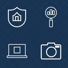 Premium set of outline vector icons. Such as digital, protection, concept, magnify, technology, camera, house, care, avatar, black, head, housing, focus, security, family, film, professional, lens