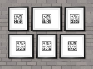 Frames on the wall. Photoframe mock up. Simple empty framings for your business design. Brick wall. Vector templates set for picture, painting, poster, lettering or photo gallery.