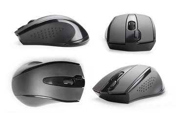 Computer mouse views collection isolated with clipping path