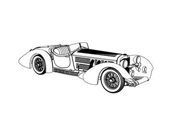 outline of a retro car vector