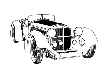 outline of a retro car vector