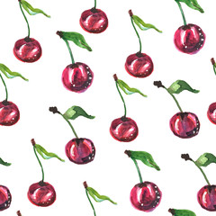 Seamless pattern with cherries. Watercolor illustration.