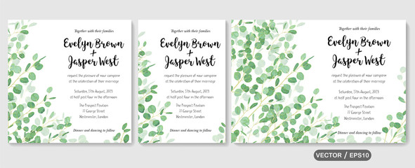 Wedding invite, invitation rsvp thank you card vector floral greenery design: evergreen leaf Eucalyptus branch, foliage herbs elegant frame border