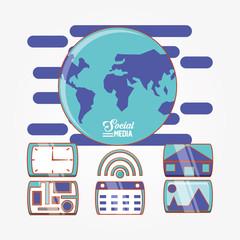 globe world with social media set icons vector illustration design