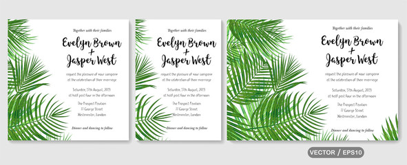Wedding invite, invitation rsvp thank you card vector floral greenery design: Forest tropical palm leaf Areca branch green, foliage herbs elegant. Watercolor cute set