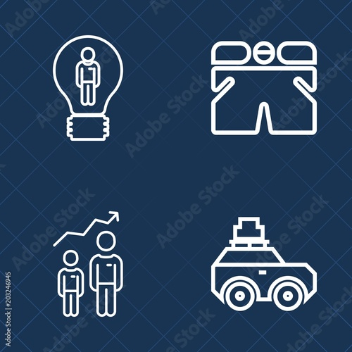 Premium Set Of Outline Vector Icons Such As Man Bulb Summer