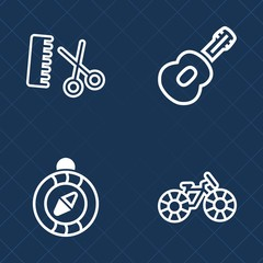 Premium set of outline vector icons. Such as stylist, haircut, musician, scissors, guitar, electric, navigation, music, sport, south, bike, musical, salon, bicycle, wheel, ride, sound, hairstyle, care