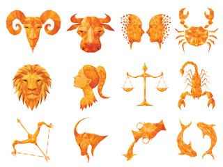 horoscope,horoscope on white background,Orange horoscope in triangle shape