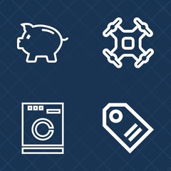 Premium set of outline vector icons. Such as retail, sale, financial, drone, aerial, wash, domestic, technology, savings, remote, machine, camera, currency, fly, banking, control, label, equipment