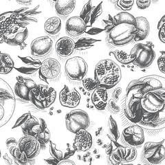 Vector sketch background fruit. Citrus - bergamot, lemon, orange, lime, tangerine, tangelo, grapefruit, pomegranate.