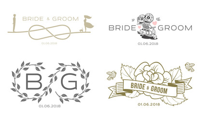 Elegant design templates for wedding card. Wedding logo for business sign, monogram identity for restaurant, boutique, cafe, hotel. Vector illustration isolated on white background.
