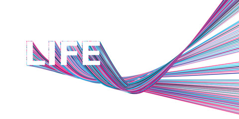LIFE banner with colorful Bézier curves
