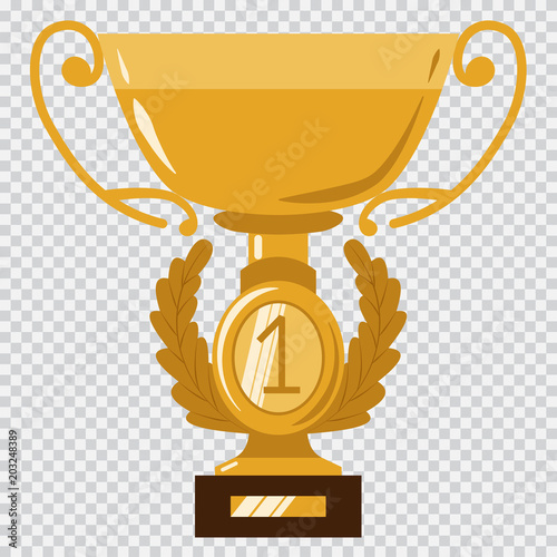 Golden Cup Trophy Award For The Winners Vector Flat Icon Isolated On A Transparent
