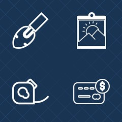 Premium set of outline vector icons. Such as money, shovel, instrument, art, vintage, background, equipment, balance, insulating, craft, photo, tape, finance, cash, tool, roll, duct, brush, purchase