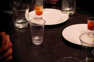 Glasses standing on table while drinking