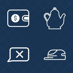 Premium set of outline vector icons. Such as business, drink, hat, tea, style, clothing, head, purse, financial, cartoon, hot, white, closed, happy, black, character, internet, finance, card, buy, pay