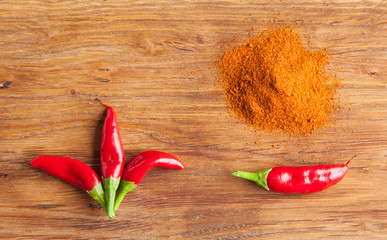 red chilli pepper and chilli pepper powder composition and wooden background