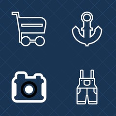 Premium set of outline vector icons. Such as film, men, market, purchase, supermarket, photography, store, image, photo, retail, anchor, photograph, vessel, shop, digital, sea, buy, marine, wear, blue