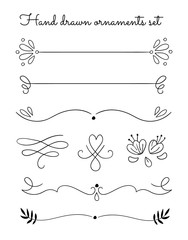 Vector hand drawn ornaments and frame elements set isolated on white background