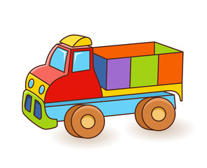 Toy Truck flash card. Kids Wall Art. First word flashcard. Playroom decor. Colorful toy Truck. Cartoon clipart eps 10 illustration isolated on white background
